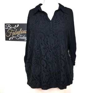 NWT Faded Glory Black Lace Front Henley 4X